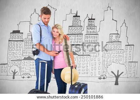 Attractive young couple ready to go on vacation against white background - stock photo