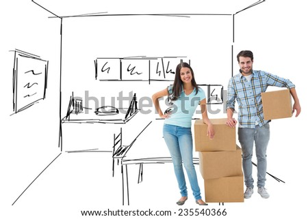 Attractive young couple with moving boxes against kitchen sketch - stock photo