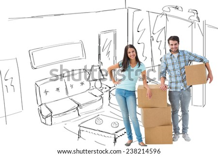Attractive young couple with moving boxes against living room sketch - stock photo