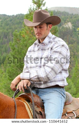 Attractive young cowboy on horseback in the mountains - stock photo