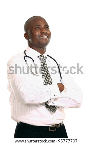 attractive young doctor, isolated on white background - stock photo