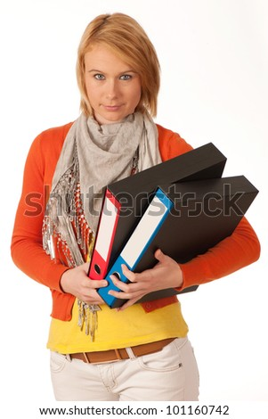 attractive young girl carries file folders