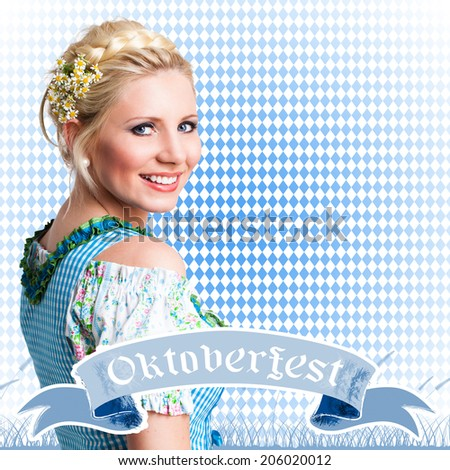 attractive young girl in a dirndl - stock photo