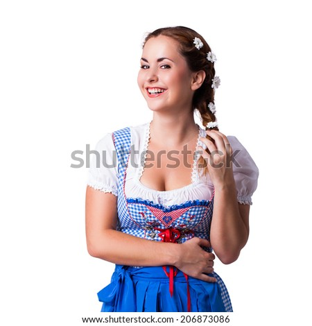 attractive young girl in a traditional dirndl  - stock photo