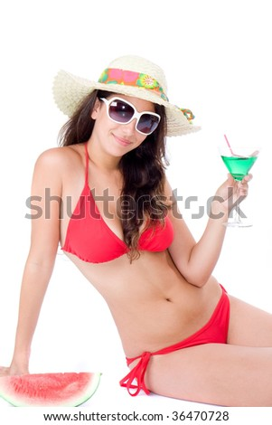 attractive young girl with red bikini and sunglasses. isolated on white - stock photo