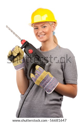 Attractive young lady worker with a pneumatic drilling machine isolated on white