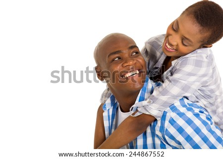 attractive young loving african couple looking at each other