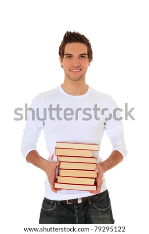 Attractive young man carrying pile of books. All on white background. - stock photo