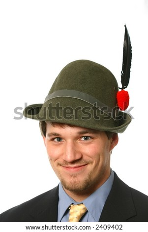 Attractive young man in an alpini hat