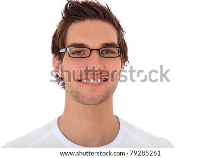 Attractive young man wearing glasses. All on white background. - stock photo