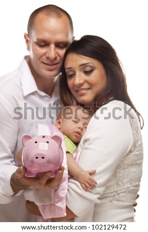 Attractive Young Mixed Race Parents with Baby Holding Piggy Bank on a White Background. - stock photo
