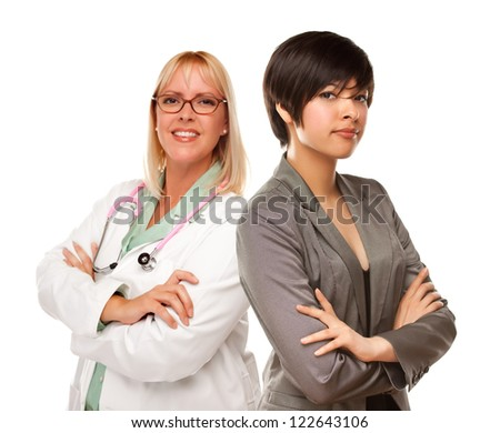 Attractive Young Mixed Race Woman with Female Doctor or Nurse Isolated on a White Background. - stock photo
