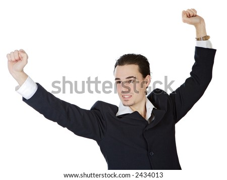 attractive young person businessman celebrating a triumph a over white background
