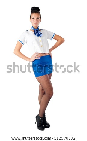 Attractive young stewardess isolated over white background - stock photo