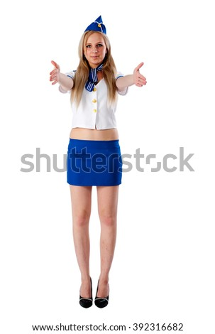 Attractive young stewardess. Isolated over white background - stock photo
