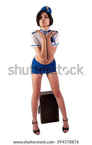 Attractive young stewardess with old suitcase sends an air-kiss, isolated over white background - stock photo