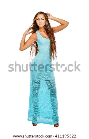 Attractive young stylish woman full length portrait in a long dress.  Isolated on white background. - stock photo