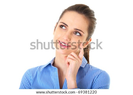 attractive young thoughtful businesswoman in blue shirt, isolated on white - stock photo
