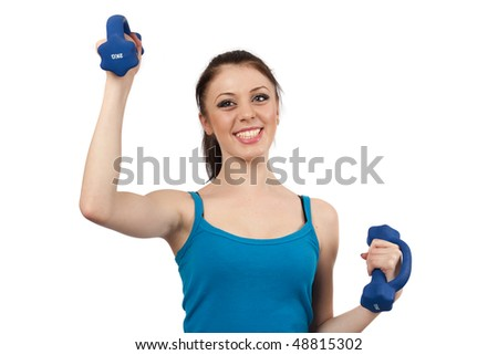 Attractive young woman doing workout with weights isolated on white
