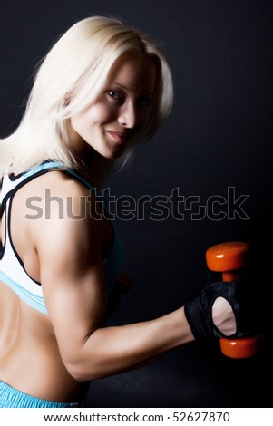 attractive young woman during her training