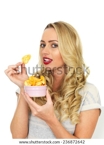 Attractive Young Woman Eating Potato Crisps