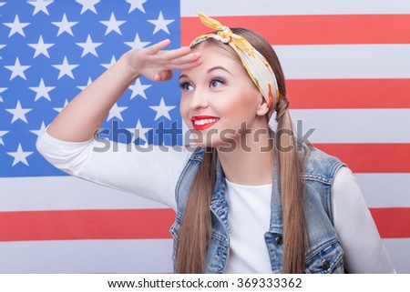 Attractive young woman has an American dream