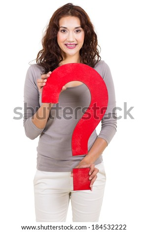 attractive young woman holding big red question mark sign - stock photo