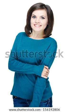 Attractive young woman in a blue shirt. Isolated on white background