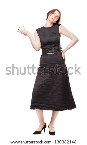 Attractive young woman in black cloth thinking about something - stock photo