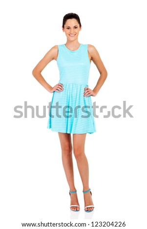 attractive young woman in blue dress isolated on white