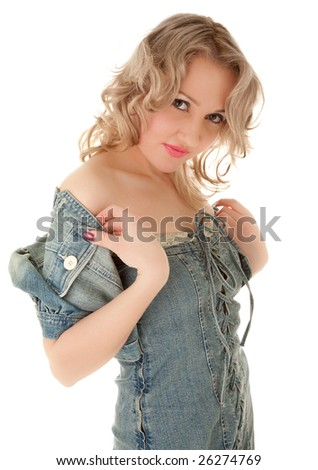 Attractive young woman in jeans jacket