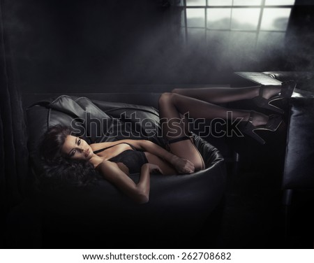Attractive young woman in romantic mood - stock photo