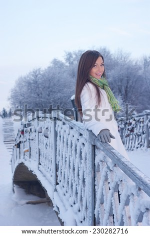 Attractive young woman in snowy winter park  - stock photo
