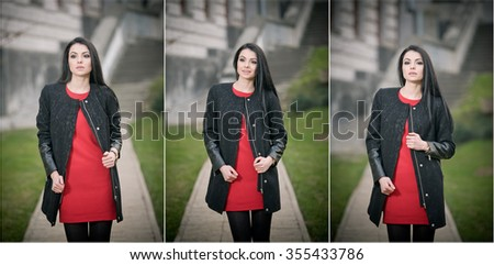 Attractive young woman in winter fashion shot with building on background. Beautiful fashionable girl in black coat over red short dress walking on avenue. Elegant long hair brunette in urban scenery. - stock photo
