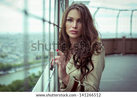 Attractive young woman outdoor - stock photo