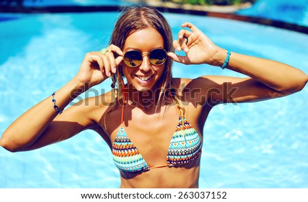 Attractive young woman outdoor fashion portrait  - stock photo
