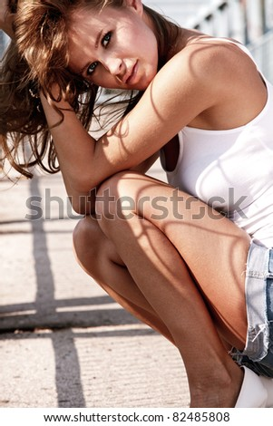attractive young woman outdoor summer portrait - stock photo