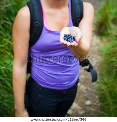 Attractive young woman picking and eating sweet blueberries on forest path on a beautiful summer day - detail of palm full of fresh tasty blueberries  - stock photo