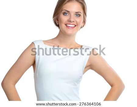 Attractive young woman portrait isolated on white background - stock photo