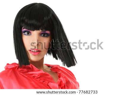 Attractive young woman portrait looking to camera close-up with space for your text - stock photo