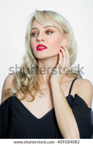 attractive young woman portrait making seductive expression