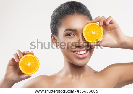 Attractive young woman prefers healthy food - stock photo