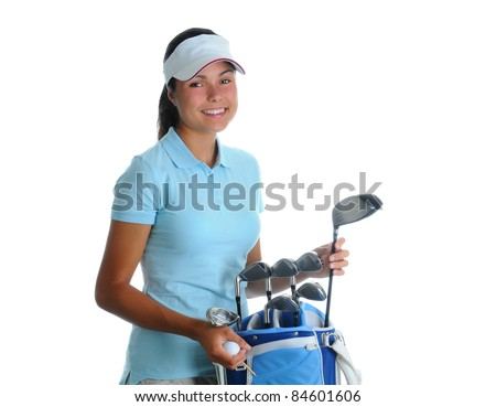 Attractive young woman selecting a golf club from golf bag. Girl is smiling at the camera isolated over a white background. - stock photo