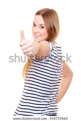 Attractive young woman showing thumbs up. All on white background - stock photo