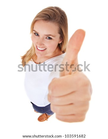 Attractive young woman showing thumbs up. High angle view. All on white background. - stock photo