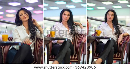Attractive young woman sitting on armchair in shopping center. Beautiful fashionable young lady wearing white male shirt in mall. Casual long hair brunette posing smiling and teasing, indoors shot - stock photo