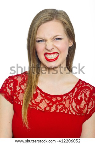 attractive young woman teenager making expression, angry - stock photo