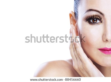 attractive young woman vivid close-ups half-face - stock photo