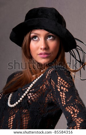 attractive young woman with a beautiful headdress