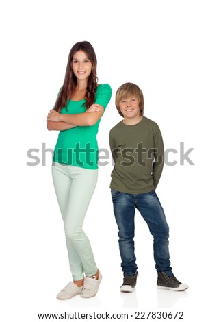 Attractive young woman with her brother isolated on a white background - stock photo